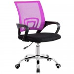Office & Home Mesh Chair NAPOLI Pink Modern Adjustable with Metal Base