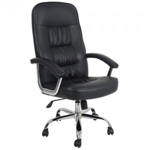 Executive Modern Big Chair DELUXE Steel Chrome Black