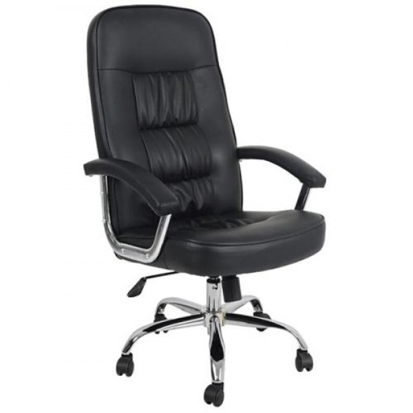 Executive Modern Big Chair DELUXE Steel Chrome Black