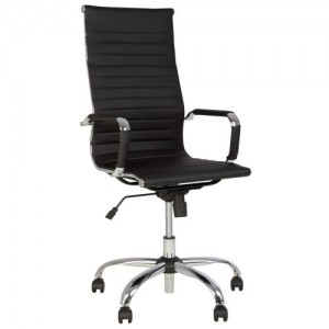 Executive Modern Chair Nowy Styl Slim HB Tilt Chrome & Black Eco Leather